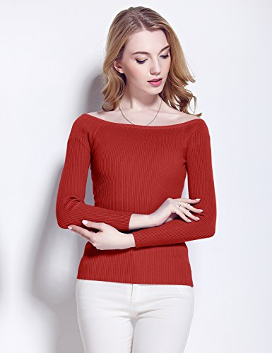 Relaxfeel Épaule Off Women Encolure manches longues Pull à rayures Vin rouge