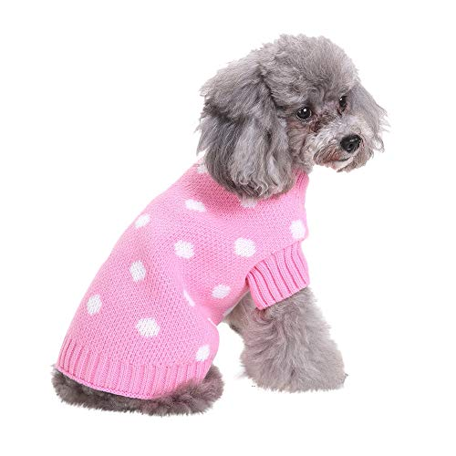 Amphia - Kleidung Hund Weihnachten,Haustier Hund Polka Dot Pullover - Haustier-Hundekatze-Winter-Warmer Punkt-Strickjacke-Mantel-Kostüm-Kleid(Rosa,L) - Rosa Polka Dot Kleidung