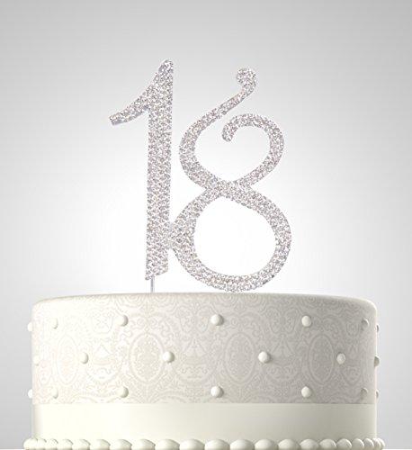 Rubies & Ribbons, 45,7 cm, Metall mit Strasssteinen, für Geburtstagstorte, Party-Dekoration, mit Geschenkbox silber