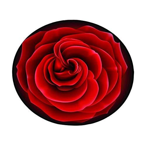 European Style Creative Roses Runde Das Wohnzimmer Teppich Pad Korb Swivel Hocker Computer Stuhl Kissen Cute Schlafzimmer Bett Decke Teppich Rot (größe : Diameter 80cm) (Teppich-korb)