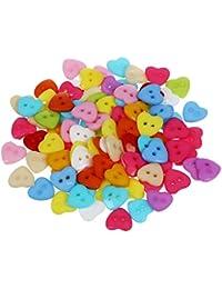 Ogquaton Botones de costura Botón de plástico de dos agujeros Botón de forma de corazón colorido