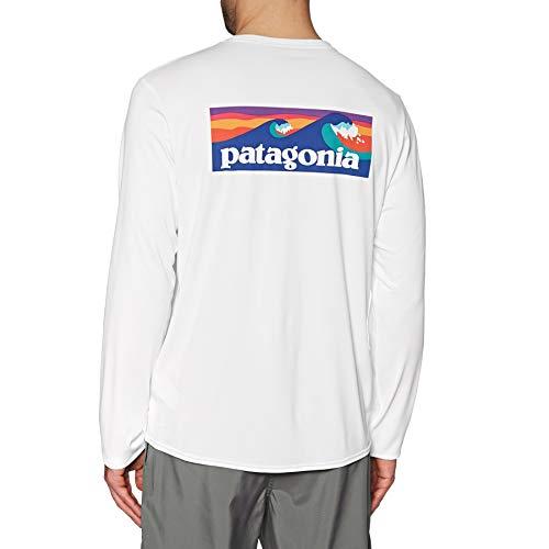 Patagonia Shirt White (Patagonia Herren M's L/S Cap Cool Daily Graphic Shirt Hemd, Boardshort-Logo: Weiß, XL)