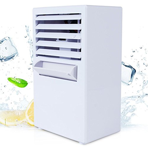 JADEER 9.5 inch Portable Air Conditioner Fan Small Desktop Fan Personal Misting Fan Mini Evaporative Air Cooler Circulator
