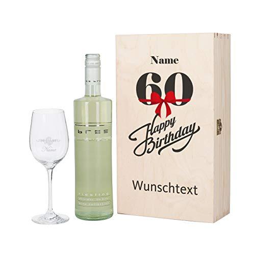 Herz & Heim® Bree Wein-Präsent mit graviertem Weinglas und Bree Wein zur Auswahl in Geschenkkiste zum 60. Geburtstag Weiß