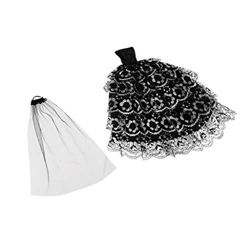 (Baoblaze Gotisch Brautkleid für 29cm Puppen Puppenkleidung Spitzenkleid Hochzeitskleider mit Schleier)
