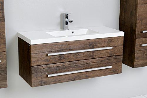 Quentis Waschplatz Set Genua 100, 2-teilig, Waschbecken und Unterschrank, 2 Schubladen, Front und Korpus Holzdekor antik