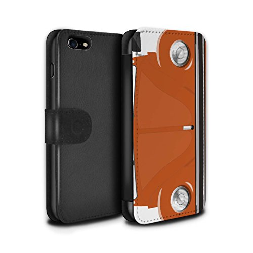 STUFF4 PU-Leder Hülle/Case/Tasche/Cover für Apple iPhone 8 / Sahara Beige Muster / Retro Beetle Kollektion Leuchtend Orange