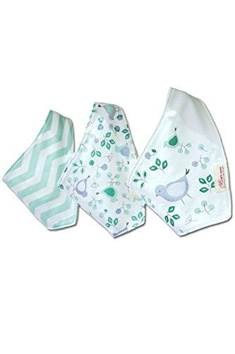Bebedou - Bavaglini a bandana per bambini, confezione da 3 in puro cotone super assorbente, tema floreale
