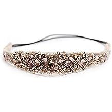 TININNA Mujer Banda Venda del pelo de la joyería de la cadena frente del pelo del Hairband Diademas del tocado de diamantes de imitación Perla de Imitación para Boda