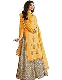 FSTYLETIME Prachi Desai Yellow Embroidered Desginer Indo Western Salwar Suit