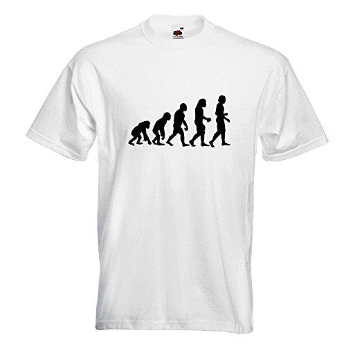 KIWISTAR - Evolution Charles Darwin T-Shirt in 15 verschiedenen Farben - Herren Funshirt bedruckt Design Sprüche Spruch Motive Oberteil Baumwolle Print Größe S M L XL XXL Weiß