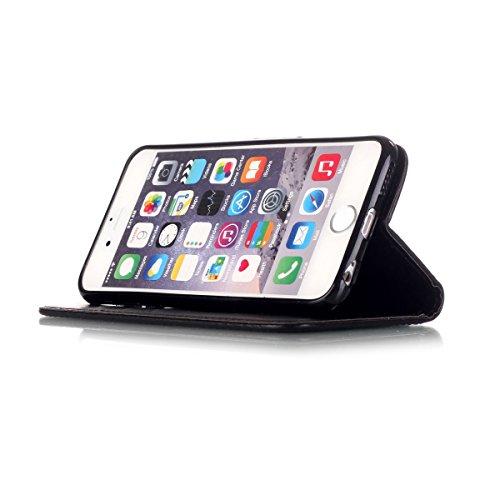 Apple iphone 6S Hülle,iphone 6 Leder Flip Case,Ekakashop Retro Style Book Style Anti-choc PU Leder Wallet Brieftasche Handyhülle Etui Schale Flip Cover Smart Case mit Standfunktion und Karte Halter fü Schwarz Glockenblume