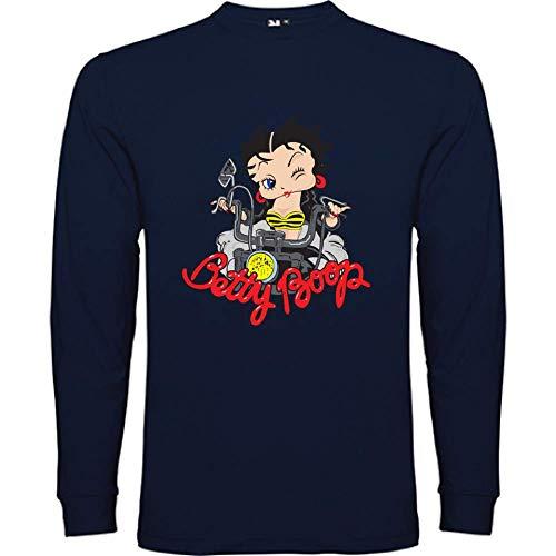 Bikerella T-Shirt Manica Lunga Unisex Betty Boop Moto-Biker Blu Navy/Color XL by