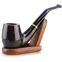 "Joyoldelf Tabaco de fumar pipa de madera ""Maigret"" Negro, Liso, doblado, hecho a mano + Soporte"