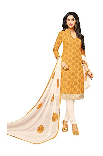 Indian Designer Patywear Ethnic Traditional Navy Blue Anarkali Salwar Kameez in Deep Yellow Cotton (Gelb Kameez Chiffon)