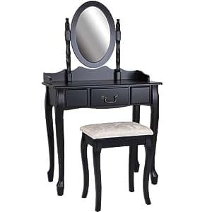 Miadomodo coiffeuse en bois avec tabouret table de maquillage avec miroir a - Coiffeuse noire avec miroir ...