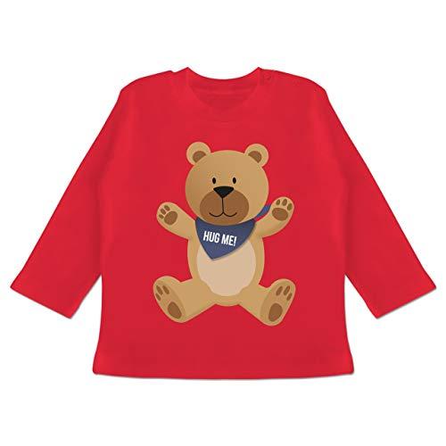 Up to Date Baby - Kleiner Bär Hug me - 6-12 Monate - Rot - BZ11 - Baby T-Shirt Langarm