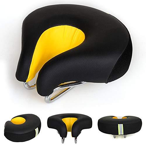 HJUOS Fahrrad-Sitzel kopfloser Sattel Super Soft Armless Magic Pad komfortabel Elastic Bend Design Travel Mountain Bike und Fixed Gear Wide no Nose High Elasticity Men ' S Breathable,Orange
