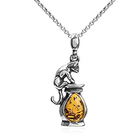 Honey Amber Sterling Silver Panther Pendant Chain 46cm