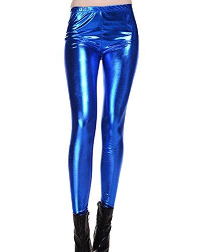 Damen Hohe Taille Metallisch Dehnbar Kunstleder Leggings Skinny Hosen Leggins Treggins Saphirblau Eine Größe