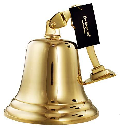 Buckingham 17,5 x 22,5 cm, Messing massiv, Schiff/Last Orders/Pub /, zur Befestigung an der Wand, Gold Buckingham Bell