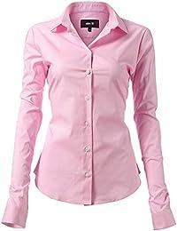 HARRMS Damen Bluse Basic Hemd Workwear Slim Fit Langarm Baumwolle Einfarbig  Plain Für Anzug Business Arbeit d61b53a20c