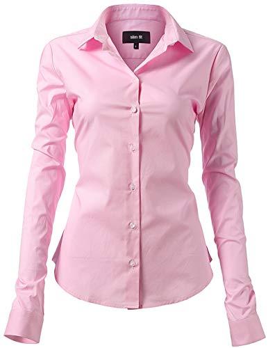 INFLATION Damen Hemd mit Knöpfen Baumwolle Bluse Langarmshirt Figurbetonte Hemdbluse Business Oberteil Arbeithemden Rosa 42/14 (Rosa Baumwoll-bluse)