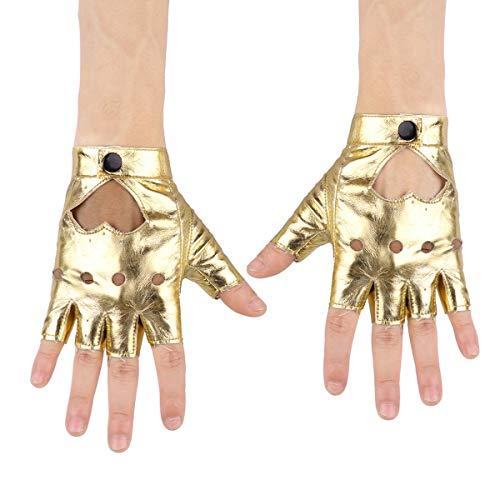 iixpin Damen glänzend Half Finger Handschuhe Wetlook Latexhandschuhe fingerlos glänzend Lederhandschuhe Handschuhe für Party Nacht Club Gold One Size