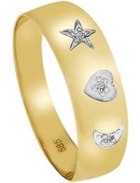 Diamond Line Damen - Ring 585er Gold 3 Diamanten ca. 0,015 ct., gelbgold