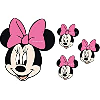 """EDIBLE PRECUT LARGE 4"""" DISNEY PINK BOW MINNIE MOUSE ICING CAKE TOPPER"""