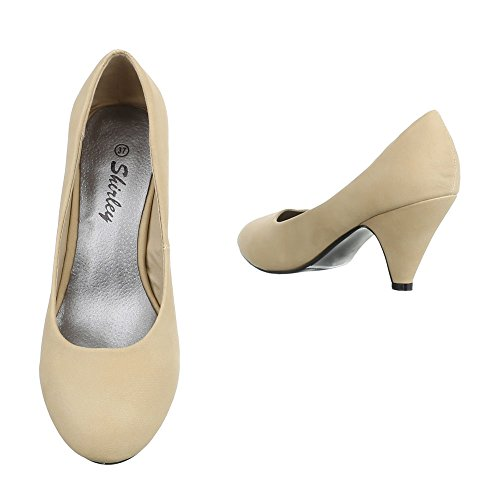 Damen Pumps Schuhe High Heels Klassische Stiletto Schwarz Beige Blau 35 36 37 38 39 40 Beige
