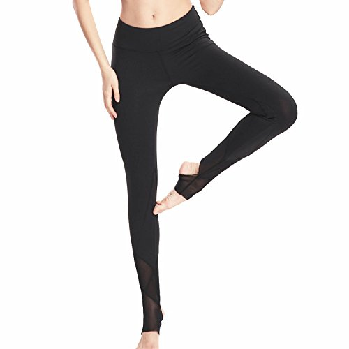 MAYUAN520 Hohe elastische Yoga Hose, Schwarz Mesh Verzweigung mit hoher Taille Fuß Hosen für Frauen, Gymnastik Laufhose Sport Yoga Leggings, S