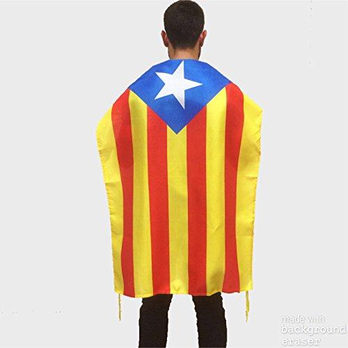 Bandera catalana independentista ideal para uso exterior en balcón | Bandera de Cataluña de buena calidad mediana y de poliéster con medidas 100x70 cm apropiada también para uso interior
