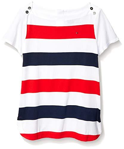 Tommy Hilfiger Adaptive Damen Stripe Boatneck Top Hemd, True Red/Multi, Groß - Sleeve Boatneck Tunika