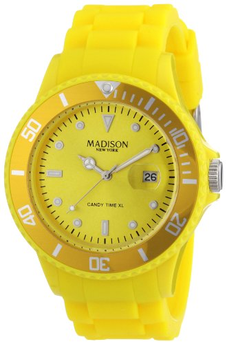 Madison New York Unisex-Armbanduhr Candy Time XL Analog Silikon gelb G4167-02/1