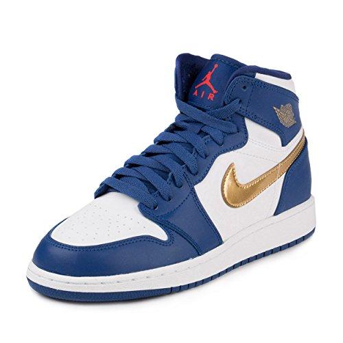 Nike Air jordan 1 retro high bg - Scarpe da basket, Uomo, colore Blu (deep royal blue/mtlc gold coin-white), taglia 40
