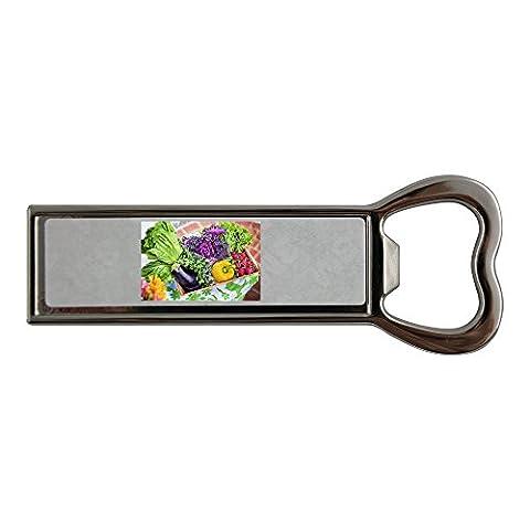 Stainless steel bottle opener and fridge magnet with Vegetables, Garden, Harvest, Organic