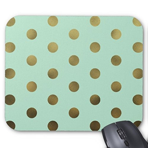 Poem Magine Gold Polka Dots Rectangle Non-Skip Rubber Mouse Pad 9