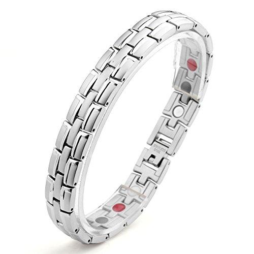 Zysta Edelstahl Schmuck Herren Magnetarmband Edelstahl 4 in 1 Magnettherapie Armband Magnetisches Armreif (Silber)