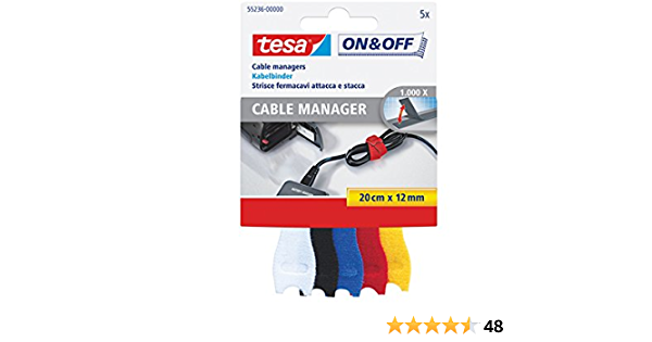 tesa On /& Off Klett-Kabelbinder Cable Manager small 8755236 farbig