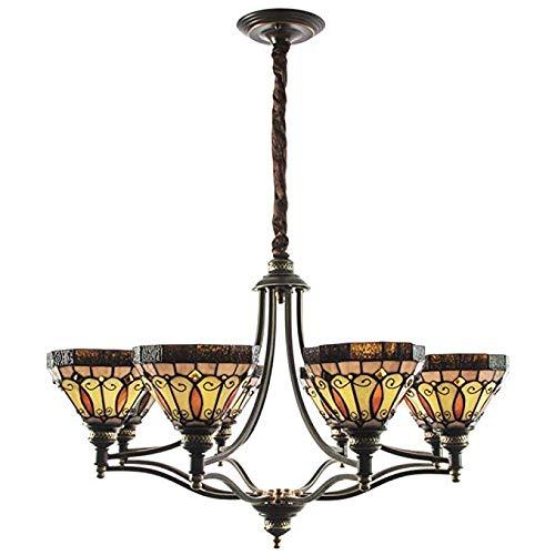Hmxgm Tiffany-Stil Kronleuchter, Europäische Glasmalerei Deckenleuchter Lampen Mini Kronleuchter Bronze Finish 8 ländlichen Retro Lichter Schmiedeeisen - Mini-bronze-finish