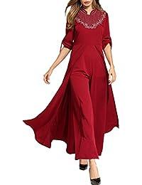 Zhhyltt Elegante Vestido Fiesta Mujeres Arabes Vestido Robe Cuello Redondo Vestir Talla Grande Summer Ladies Muslim