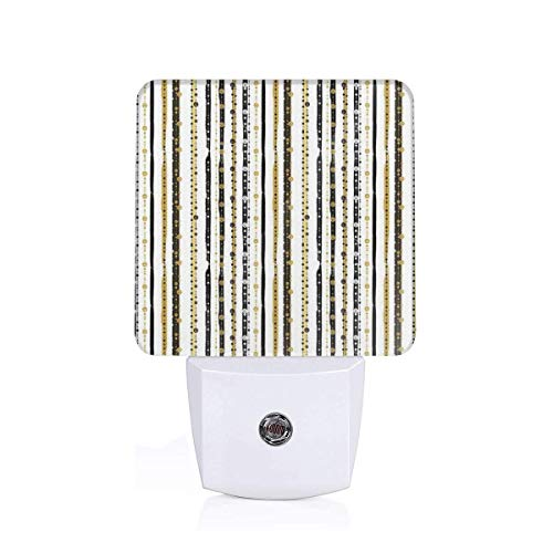 Vertical Lines With Round Circle Shapes Victorian Inspired Designed Art Print Plug-in LED Night Light Lamp with Dusk to Dawn Sensor, Night Home Decor Bed Lamp -