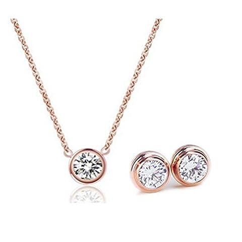 Wting Collier Femme Mode Acier Titane Lot, rose gold
