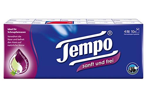 Tempo Taschentücher sanft und frei, 4-lagige Papiertücher in bewährter Tempo Qualität für eine freie Nase, 10 x 9 Tücher (90 Tücher) (Über Duft-Öl)