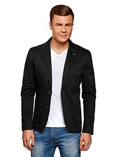 oodji Ultra Herren Taillierter Blazer mit Seitentaschen, Schwarz, DE 52 / L
