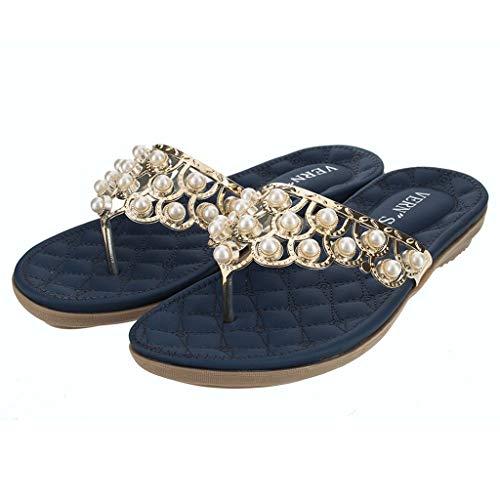 Erhältlich in 3 Farben, Damen Hochzeit Sandalen Kristall mit Strass Perlen Bohemian Kleid Flip-Flop Gladiator Schuhe Plus-Size