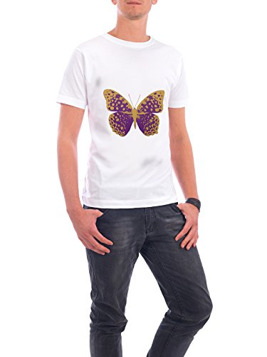 "Design T-Shirt Männer Continental Cotton ""Gold and Purple Butterfly"" - stylisches Shirt Tiere Natur Fiktion von Paper Pixel Print Weiß"