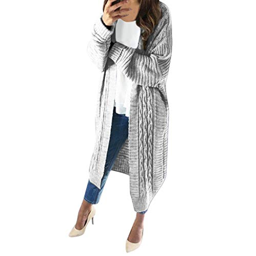 YU'TING ☀‿☀ Maglia Donna Giacca Cardigan Manica Lunga Lungo Giacca Maglione Donna Vintage Scialle Manica Lunga Felpa Cardigan Elegante Autunno Invernale