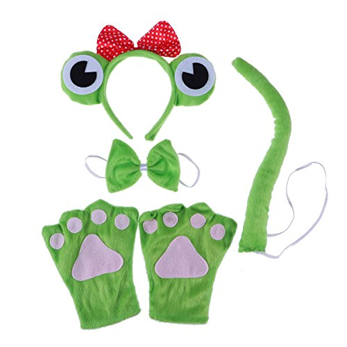 Fenical Kinder Frosch Stirnband Fliege Handschuhe Cosplay Kostüm für Halloween Kostüm Party Favors